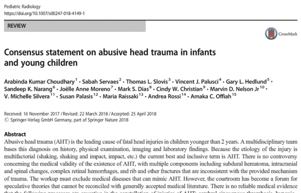National Center On Shaken Baby Syndrome Consensus Statement On Sbs